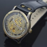 Wholesale Daily Watch - Luxury Mechanical Wristwatch Men Automatic Skeleton Daily Waterproof Leather Band Watches Vintage Style Roman Dial Antique Gold Watch Gift