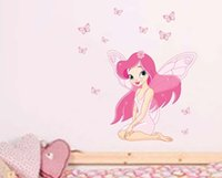 Wholesale Pink Fairy Wall Stickers - JM8257 Princess Fairy Wall Stickers Beautiful Girl Butterfly Decal for Kids Nursery
