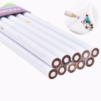 Wholesale Wholesale Wooden Pencils - 4PCS White Professional Wooden Dotting Pencils Point Drill Pen For Nail Art Rhinestones Gems Picking Tools Nail Art Tool Dotting Pen