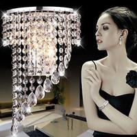 kristallwellen-kronleuchter licht großhandel-Moderne Luxus K9 Kristall LED Wandleuchten Kristall Welle Kronleuchter Vorhang Welle LED E14 Lampe Lichter Kristall Kronleuchter Pendent Hotels Lampe