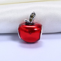 Wholesale Pandora Apple Charm - Wholesale Real 925 Sterling Silver Not Plated Red Apple European Charms Beads Fit Pandora Snake Chain Bracelet DIY Jewelry