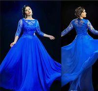 vestidos del tamaño 16 del reino unido al por mayor-Diseño formal azul real vestidos de noche con 3 4 manga larga Prom Gowns UK Plus Size Dress For Fat Women