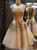 Wholesale Mini Wedding Dresses Bow - Charming Homecoming Dresses Gold Lace High Neck Sleeveless With Bow Waist Short Prom Gown Cocktail Party Dresses