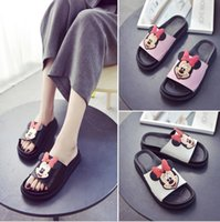 Wholesale Korean Fashion Slippers - 2017 female summer slippers word drag sandals Korean version Mouse fashion flat shoes beach sandals