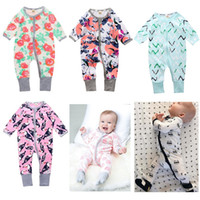 Wholesale One Piece Summer Pajamas - Floral Newborn Clothes Baby One-Piece Romper Boys Pajamas Romper 100% Cotton Soft Girl Jumpsuit Sleepwear Zipper Infant Overall bodysuits