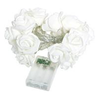 Wholesale Flasher Light Bulbs - Wholesale- 20 LED Rose Flower Light Fairy Lamp Bulb Flasher 3 Colors Home Wedding Light String Garden Valentine's Day Decorative Lighting