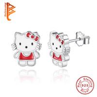 Wholesale Cat Earrings For Girls - BELAWANG Wholesale Fashion 925 Sterling Silver Earrings Red Enamel Pretty Kitty Cat Cartoon Stud Earrings For Women Girls Birthday Jewelry