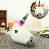 Décor Plush Pas Cher-Unicorn Emoji Pillow 35 * 33CM Emoticon en peluche Oreiller en peluche Lovely Cushion Soft Smiley Home Decor Décoration OOA3049