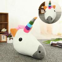 Wholesale Animal Pillows - Unicorn Emoji Pillow 35*33CM Stuffed Animal Emoticon Plush Pillow Lovely Cushion Soft Smiley Home Room Decor OOA3049