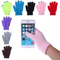 Wholesale Mobile Phone Cycling - Hot 12Colors Winter Knit Gloves Conductive Capacitive Touch Screen Gloves for iPhone iPad Mini Samsung Edge Galaxy Mobile Phone Gloves
