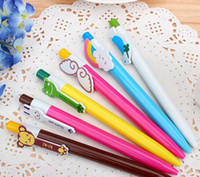 Wholesale animal ink pens - Free shipping Cute Cartoon Animal Rainbow BallPoint Pen for School and Office Gift Stationery Wholesale