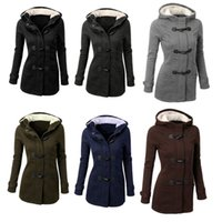 Wholesale Women Fur Collar Thicken Fleece - 3XL Europe station Women winter warm coat thickening Slim down jacket in a long hooded wool jacket H121
