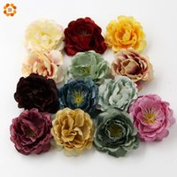Wholesale burgundy gift box - Wholesale- 10PCS High Quality DIY Artificial Silk Flower Head For Home Wedding Party Decoration Wreath Gift Box Scrapbooking Fake Flowers