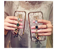 Wholesale Mobile Phone Accessories Bling - Bling Gemstone Gem Cell Mobile Phone Protective Cover Case Accessories With Ring Stand Holder For iPhone 7   7 6 6S Plus SJK-004