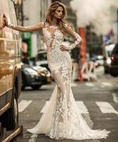 Wholesale Embellished Mermaid Wedding Dresses - 2017 berta bridal long sleeve lace mermaid wedding dresses illusion jewel neckline heavily embellished chapel train wedding gowns