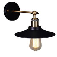 luminarias de estilo industrial vintage al por mayor-Lámpara de pared industrial plateada vintage Retro Loft Luz de pared LED Lámpara de aplique de estilo rural para accesorios de iluminación para el hogar Diámetro 21 cm