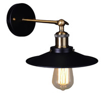 Wholesale country style light fixtures - Vintage Plated Industrial Wall Lamp Retro Loft LED Wall Light Country Style Sconce Lamp for Home Lighting Fixtures Diameter 21 cm