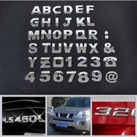 Wholesale Sticker Light For Car Window - DIY Chrome ABS Alphabet letter Number Symbol Emblem Badge Decals sticker For Mercedes Audi Nissan Ford Toyota Honda car-styling