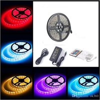 Wholesale 24 Dc Power Supply - LED Strip Light RGB 5050 SMD + Power Supply +24 key Remote IR Controller +Waterproof LED strips lighting 5m(60LED meter)