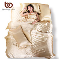 Wholesale Silk Comforter Brown - Wholesale-Wholesale 100% Soft Silk and Cotton Beddings Pure Silk Comforter Silk Satin Bedspreads Solid Beige Silk Duvet Covers Pillowcase