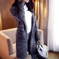 Wholesale Thick Wool Cardigan Girl - Wholesale- 2017 Autumn Winter Women Cardigan Knitted Long Sleeve Poncho Sweater Cardigans Fashion Girl Coat Crocheted Sweaters Tops
