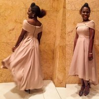 Wholesale Asymmetric Strap Summer Dress - 2018 New High Low Asymmetric Tea Length Evening Dresses Boat Neck Cap Sleeves Top Formal African Girls Prom Party Gowns Cheap