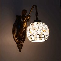 mediterranean mosaic lights achat en gros de-OOVOV Mosaïques Mermaid Bedroom Wall Lamp Mediterranean Pastoral Living Room Wall Light Escalier Corridor Balcon Wall Sconce