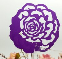 Wholesale place europe - 50pcs lot DIY Place Card Rose Flower Cup Glass Wine Customized Wedding Name Cards Laser Cut Pearl Paper Wedding Card Birthday Party supplies