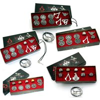 Wholesale Brooch Boxes - Animation Assassins Creed Necklace Brooch Rings Set Game Cosplay Accessories Box Set Gift Sets for Kids