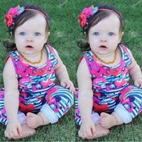 Wholesale Unisex Hair Pieces - Infant outfits 2017 new baby unisex cotton floral sleeveless stripe rompers+bows hair band 2pcs sets toddler kids cute clothing C0253