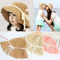 Wholesale Ladies Summer Outfits - Family Matching Outfits Lady Mother Kids Boys Girls Matching Summer Bowknot Beach Straw Sun Hat Cap free fast shipping