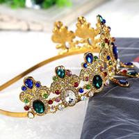 Wholesale Western Hair Headbands - Western Wedding Hair Accessories Jewelry Handmade Green Red Pink Crystal Blue Rhinestone Crown And Tiara Bride Bridal Headband Headpieces