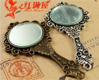 Wholesale Mirror Charms For Bracelets - 68*35MM Antique Bronze mirror charm for bracelet, metal dangle vintage silver mirror pendants for necklace, Indian brass copper alloy charms