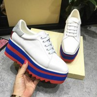 Wholesale Summer British Style Tops - 2017 British style Women casual Shoes street snap low top platform Wedge Shoes black white lace up thick bottom Shoes Women