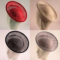 Wholesale Diy Fascinator Hats - 20cm Solid Round Sinamay Base Fascinator Hat Base Sinamay Base Fascinator Hat Handmade DIY Fascinator Bases 5psc lot