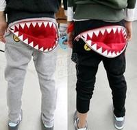 Wholesale Good Cool Clothes - 2017 Summer kids cool cartoon cotton pants baby boy girl casual Harem pants Good Quality shark tooth Zipper Harem pants Baby clothes C019