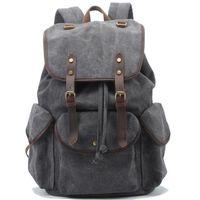 Wholesale vintage canvas backpacks for men - Vintage designer backpacks men casual traveling canvas mens backpack fashion 2017 new style brief school backpacks for men free shipping