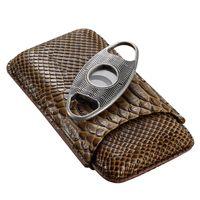 Wholesale Cigar Cutter Gift Set - Unique Design Luxury Travel Portable Leather No Barrier Cigar Case Metal Cigar Cutter Set W  Gift Box CC51