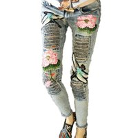 Wholesale Paints Female Jeans - Wholesale- Floral Pattern 2017 Female Leisure Flowers Embroidered Jeans Denim Trousers C094