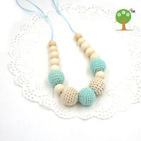 Wholesale Crochet Chain Necklace - Wholesale-Drop shipping Mint teal cream crochet beads Teething necklace Breastfeeding mom necklace. baby teether shower gift EN14