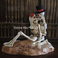 casamento de decorações de crânio venda por atacado-Atacado-praia bolo de casamento Topper Halloween Skull noiva e noivo estatueta bolo toppers decoração presente do dia dos namorados