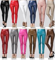 Wholesale Wholesale Junior Leggings - Wholesale- 2017 Newest Sexy Women Faux Leather Stretch High Waist Leggings Juniors Pants 8 Colors WTP0112