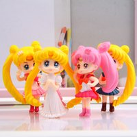 Compra Mar Anime-Anime Cartoon Sailor Moon Mars Figura Jupiter Venus Mercury Q Versione PVC Action Figure Model Toys Dolls 4pcs / set