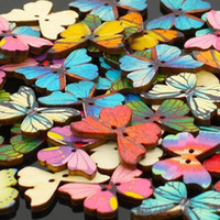 Wholesale 28mm Buttons - Hot Sale 200pcs 2 Holes Mixed Wooden Buttons 28mm Sewing Scrapbooking DIY Butterfly Buttons