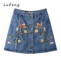 Wholesale Korean Jeans Skirts - Floral Embroidery Denim Skirts Single Button High Waist Blue Summer 2017 vintage Jeans Shorts Korean Skirt Ladies LF200-427