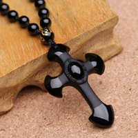 Drop Shipping Natural Black Obsidian Carving Crosses Lucky Amulet Pendant Necklace для женщин Мужские подвески Jade Jewelry 52 * 36mm
