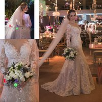 Wholesale wedding dresses from china resale online - Vestidos De Noiva Modest Wedding Dresses Mermaid Luxury Beaded Lace Long Sleeve Wedding Dress from China Custom Made Bridal Gowns