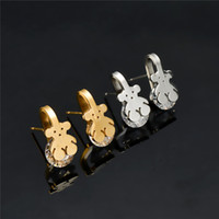 Wholesale original gold earrings - CL Stainless Steel Bear with crystal Earrings Gold Plated High Quality Never Fade Brand Jewelry Original Design Europe
