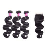 "Wholesale Virgin Remy Body Wave Bulk - Brazilian Body Wave Virgin Remy Human Hair 3 Bundles with Lace Closure Human Hair Extensions 4""x4"" Free Part Natural Color"