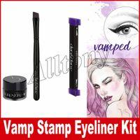 Wholesale Eye Eyeliner Gel Cosmetics - Vamp stamp seals Eyeliner Newest beauty Eyes Liner makeup tools Cosmetics with brush gel +brush+stamp mix Medium Large kitten